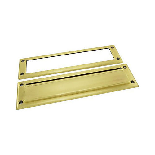 Baldwin 0012060 Letter Box Plate Satin Brass with Brown Finish