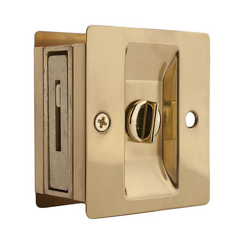 Weslock 00577X3X3 Rectangular Privacy Pocket Door Lock with Adjustable Backset and Full Lip Strike Bright Brass Finish