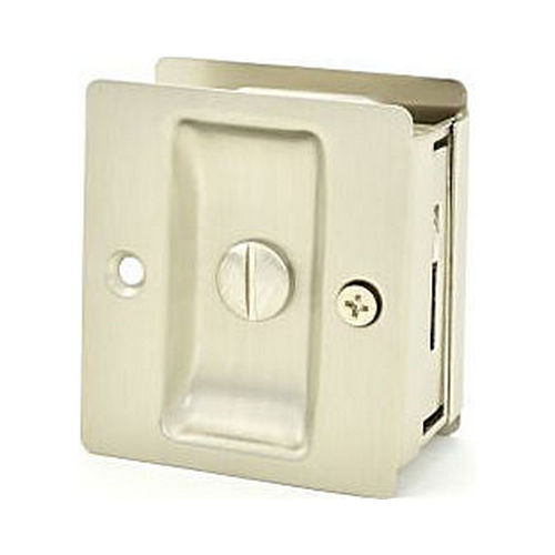 Weslock 00577XNXN Rectangular Privacy Pocket Door Lock with Adjustable Backset and Full Lip Strike Satin Nickel Finish