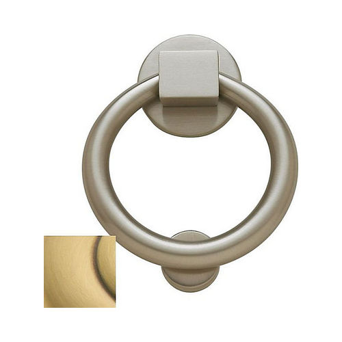 Baldwin 0195060 Ring Door Knocker Satin Brass with Brown Finish