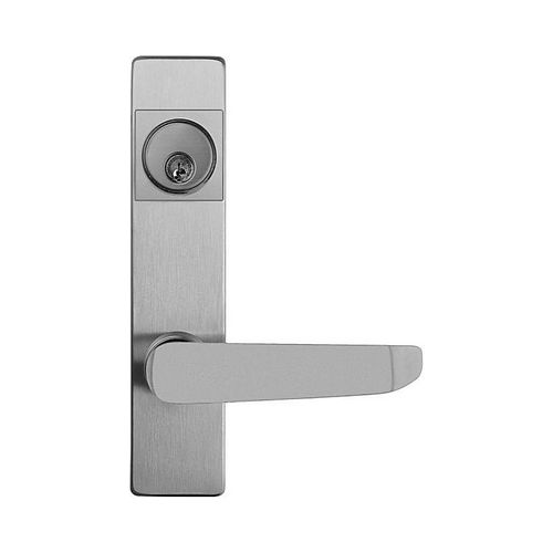 Detex 08BN689S Keyed Standard Lever Exit Trim with Narrow Escutcheon Lacquer Sprayed Aluminum Finish
