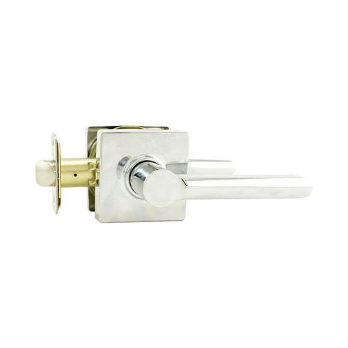 MaxGrade 100VALSQ26 Valencia Lever with Square Rose Passage Lock Bright Chrome Finish