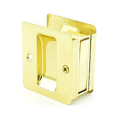 Trimco 1064605 Passage Pocket Door Lock Square Cutout Bright Brass Finish
