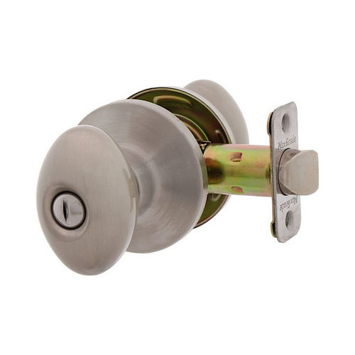 MaxGrade 200BAK15 Baker Egg Style Privacy Turn Button Lock Satin Nickel Finish with Adjustable Latch and Radius Strike