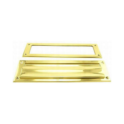 Ives Residential 620B3 Solid Brass Magazine Mail Slot with Spring Loaded Front and Open Back Bright Brass Finish