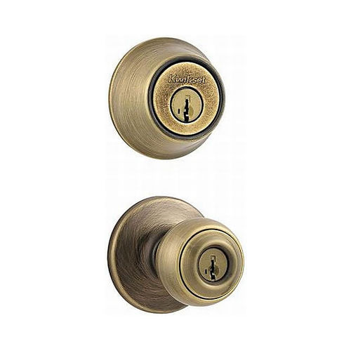 Kwikset 690P-5-B Combo Keyed Entry Polo Knob with Single Cylinder Deadbolt - Box Pack with RCAL Latch and RCS Strike Antique Brass Finish