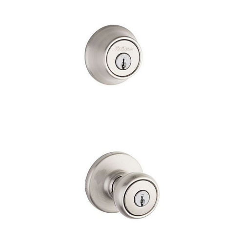 Kwikset 690T-15 Combo Keyed Entry Tylo Knob with Single Cylinder Deadbolt with RCAL Latch and RCS Strike Satin Nickel Finish