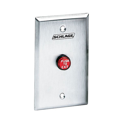 Schlage Electronic 701RDEX SPDT Momentary Red Push Button with Engraved