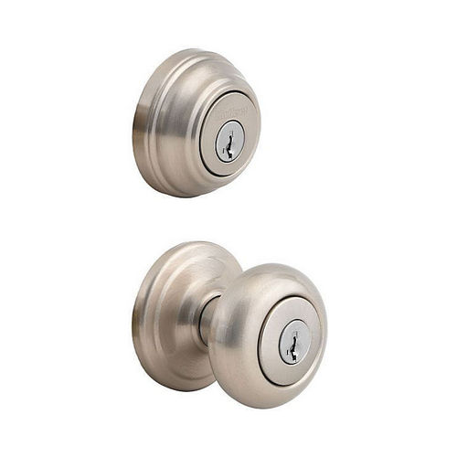 Kwikset 991J-15S-B Combo Juno Entry and Single Cylinder Deadbolt with RCAL Latch and RCS Strike Satin Nickel Finish