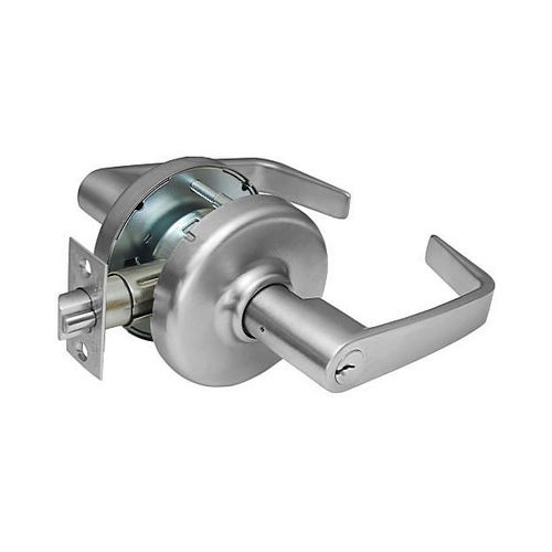 Corbin CL3851NZD626 Newport Lever and D Rose Single Cylinder Entry Grade 2 Standard Duty Lever Lock Satin Chrome Finish