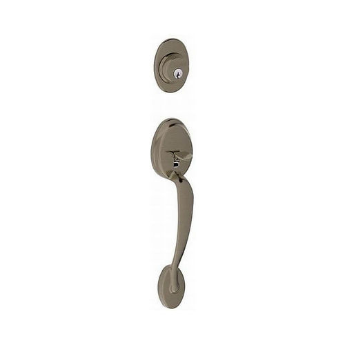 Schlage Residential F58PLY620 Plymouth Exterior Active Handleset Only with C Keyway Antique Nickel Finish