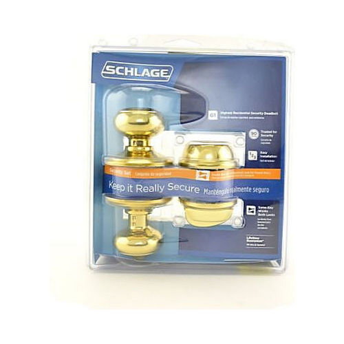 Schlage Residential FB50GEO605 Georgian Knob Combo Pack with 12334 Latch and Dual Strikes Bright Brass Finish
