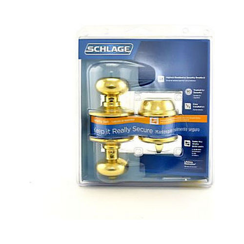 Schlage Residential FB50PLY605 Plymouth Knob Combo Pack with 12334 Latch and Dual Strikes Bright Brass Finish