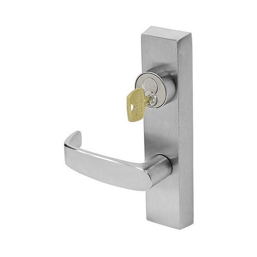 Sargent LC7138ETL26DLHR Left Hand Reverse Key Locks and Unlocks Trim ET Exit Device Trim with L Lever Less Cylinder Satin Chrome Finish