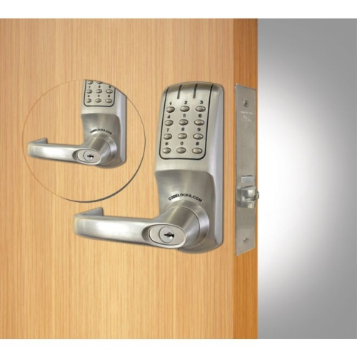 Codelock CL5250BBBS Back to Back Mortise Keypad Lever Lock Brushed Steel Finish