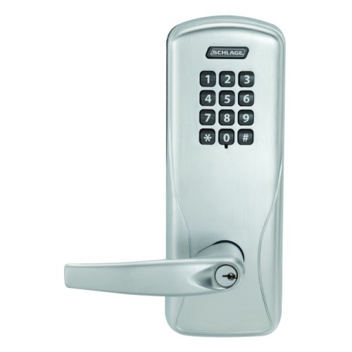 Schlage Electronic CO100CY70KPATH626 Standalone Keypad Programmable Electronic Lock Cylindrical Classroom / Storeroom Keypad Athens Lever Satin Chrome Finish