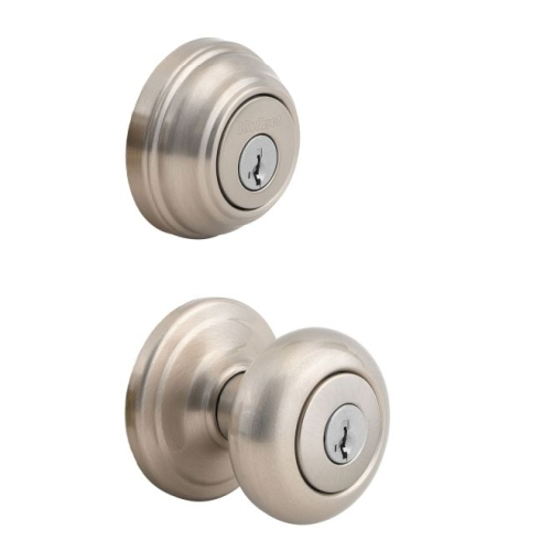 Kwikset CP991J-15 Clear Pack Combo Juno Entry with Single Cylinder Deadbolt with 6AL Latch and RCS Strike KA4 Satin Nickel Finish