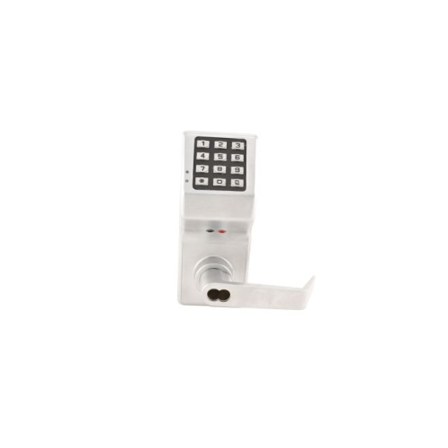 Alarm Lock DL2800IC26D Trilogy Electronic Digital Lever Lock with Interchangeable Core with Enhanced Features Satin Chrome Finish