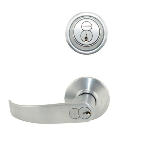 Schlage S251RDNEP626 S200 Series Interconnected Entry Double Locking Full Size Neptune Lever C Keyway with 16-481 Latch 10-109 Strike Satin Chrome ...