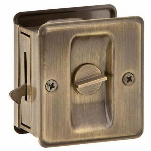 Ives Residential SC991B609 Solid Brass Carded Privacy Sliding Door Lock Antique Brass Finish