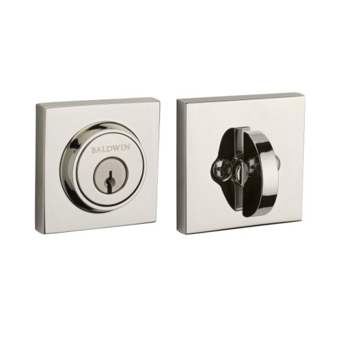 Baldwin Reserve SCCSD141S Single Cylinder Contemporary Square Deadbolt with 6AL Latch, Dual Strike, and SmartKey Bright Nickel Finish