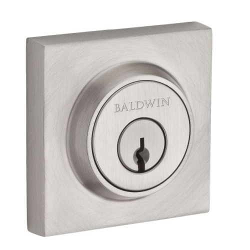 Baldwin SCCSD150S Single Cylinder Contemporary Square Deadbolt with 6AL Latch, Dual Strike, and SmartKey Satin Nickel Finish
