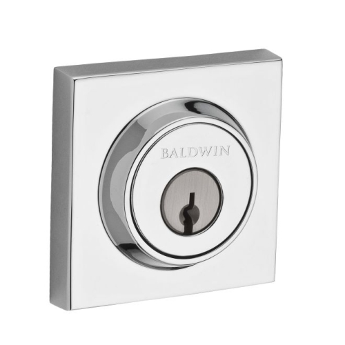 Baldwin SCCSD260 Single Cylinder Contemporary Square Deadbolt with 6AL Latch and Dual Strike Bright Chrome Finish