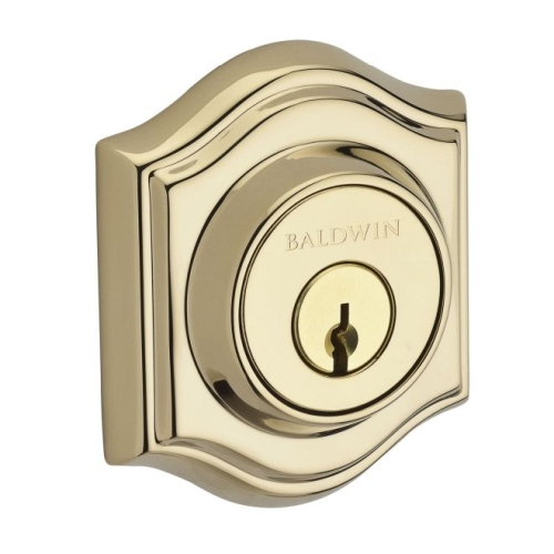 Baldwin SCTAD003 Single Cylinder Traditional Arch Deadbolt with 6AL Latch and Dual Strike Lifetime Brass Finish
