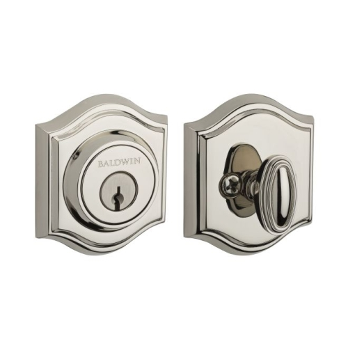 Baldwin SCTAD141 Single Cylinder Traditional Arch Deadbolt with 6AL Latch and Dual Strike Bright Nickel Finish