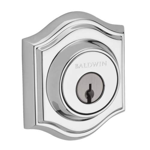 Baldwin SCTAD260 Single Cylinder Traditional Arch Deadbolt with 6AL Latch and Dual Strike Bright Chrome Finish