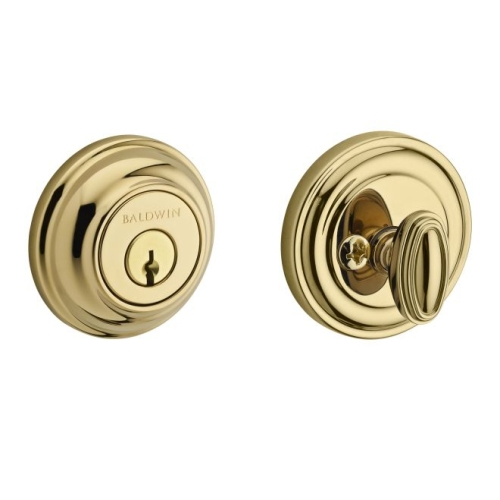 Baldwin Reserve SCTRD003 Single Cylinder Traditional Round Deadbolt with 6AL Latch and Dual Strike Lifetime Brass Finish