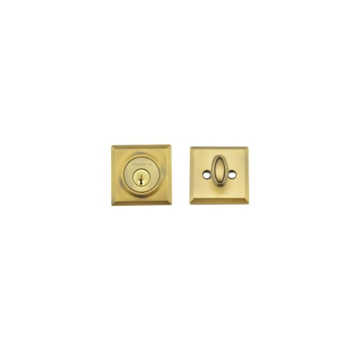 Baldwin SCTSD049 Single Cylinder Traditional Square Deadbolt with 6AL Latch and Dual Strike Matte Brass and Black Finish