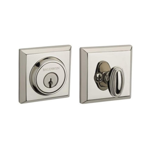 Baldwin Reserve SCTSD141 Single Cylinder Traditional Square Deadbolt with 6AL Latch and Dual Strike Bright Nickel Finish