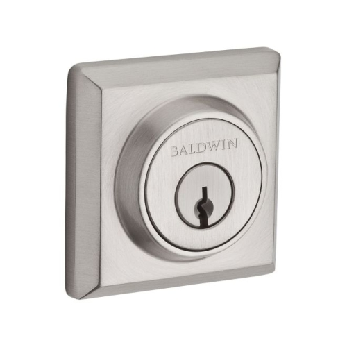 Baldwin Reserve SCTSD150S Single Cylinder Traditional Square Deadbolt with 6AL Latch, Dual Strike, and SmartKey Satin Nickel Finish