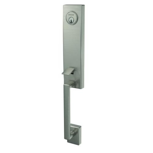Schlage FCT58CEN619 Custom 3/4 Trim Century Exterior Active Handleset Only with C Keyway Satin Nickel Finish