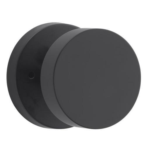 Baldwin Reserve PVCONCRR190 Privacy Contemporary Knob and Contemporary Round Rose with 6AL Latch and Dual Strike Satin Black Finish