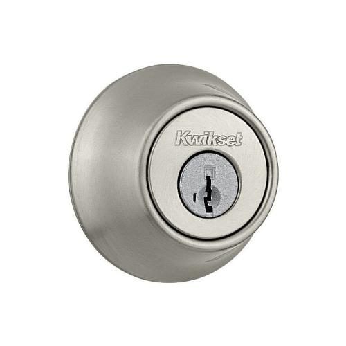 Kwikset 660-15SF Single Cylinder Deadbolt SmartKey with RCAL Latch and 5303 Strike Satin Nickel Finish