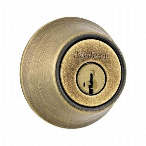 Kwikset 660-5S Single Cylinder Deadbolt SmartKey with RCAL Latch and RCS Strike Antique Brass Finish