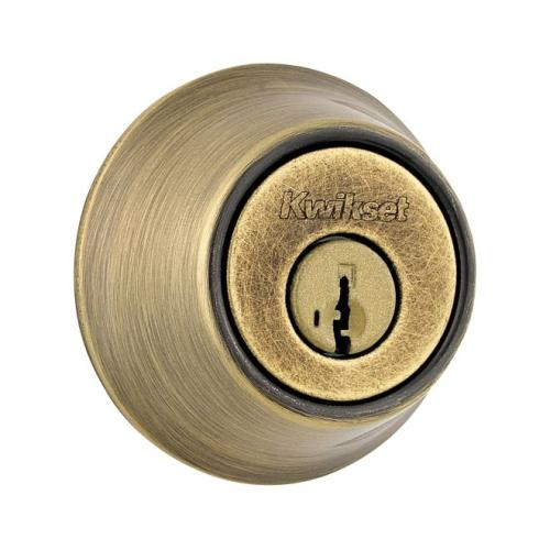 Kwikset 665-5S Double Cylinder Deadbolt SmartKey with RCAL Latch and RCS Strike Antique Brass Finish