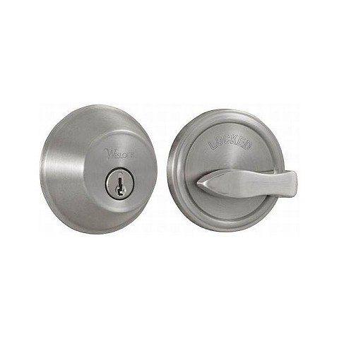 Weslock 00371-N-NSL23 300 Series Single Cylinder Deadbolt with Adjustable Latch and Deadbolt Strikes Satin Nickel Finish