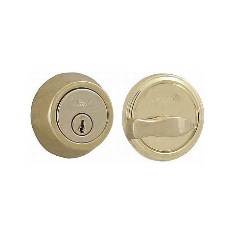 Weslock 00671-B-3SL23 600 Series Single Cylinder Deadbolt with Adjustable Latch and Deadbolt Strike Lifetime Brass Finish