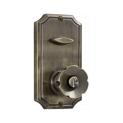 "Weslock 01400-EA3820 Eleganti Interconnected Handleset Single Cylinder Interior Trim with 2-3/8"" Latch and Round Corner Strikes Antique Brass Finish"