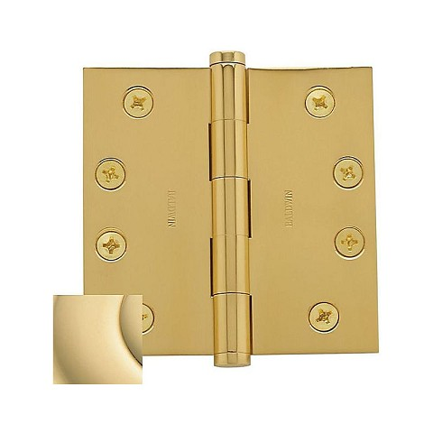 "Baldwin 1040031INRP 4"" x 4"" Mortise Square Hinge Non-Removable Pin Unlacquered Brass Finish"