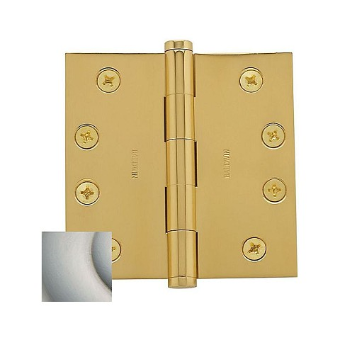"Baldwin 1040056INRP 4"" x 4"" Mortise Square Hinge Non-Removable Pin Lifetime Satin Nickel Finish"