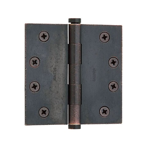 "Baldwin 1040402INRP 4"" x 4"" Mortise Square Hinge Non-Removable Pin Distressed Oil Rubbed Bronze Finish"
