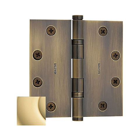 "Baldwin 1046031INRP 4-1/2"" x 4-1/2"" Ball Bearing Mortise Square Hinge Non-Removable Pin Unlacquered Brass Finish"